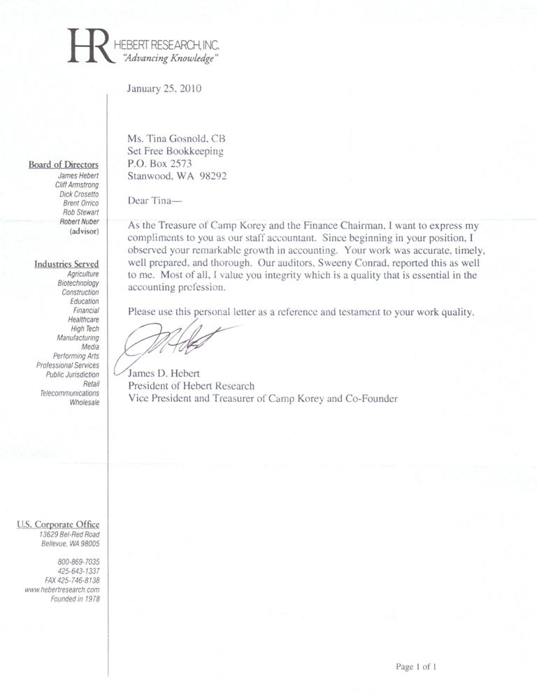 recommendation letter for accountant references tina